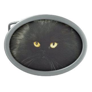 Schwarze Katze Ovale Gürtelschnalle