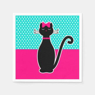 Schwarze Katze Papierserviette