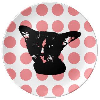 Schwarze Katze - rote Punkte Platte Porzellanteller