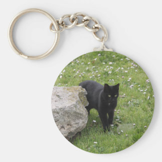 Schwarze Katze Standard Runder Schlüsselanhänger