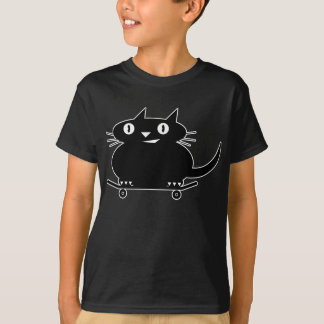 Schwarze Katze Skateboarding T-Shirt