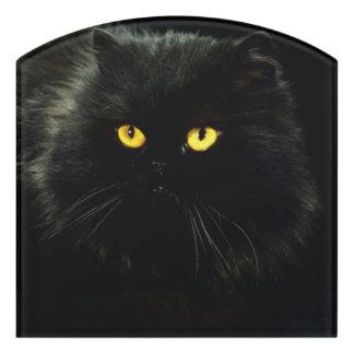 Schwarze Katze Türschild