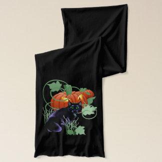 Schwarze Katze und blendend Kürbis Schal
