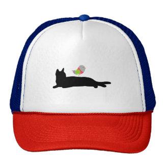 Schwarze Katze und bunter Vogel-Fernlastfahrer-Hut Netzkappen