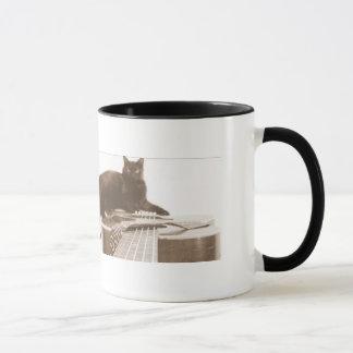 schwarze Katze und Gitarre Tasse
