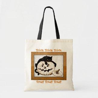 Schwarze Katze und Jack o Laternen-Trick-oder Tragetasche