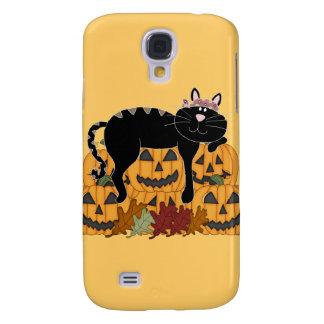 Schwarze Katze und Kürbise Galaxy S4 Hülle