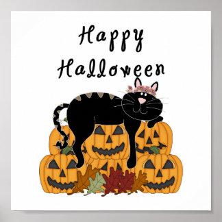 Schwarze Katze und Kürbise Halloweens Poster