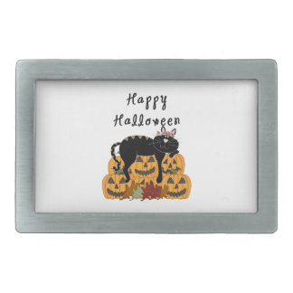 Schwarze Katze und Kürbise Halloweens Rechteckige Gürtelschnalle