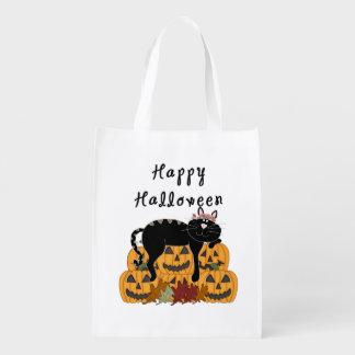 Schwarze Katze und Kürbise Halloweens Wiederverwendbare Einkaufstasche