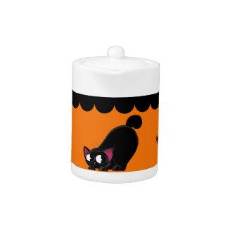 Schwarze Katze und Spinne Halloweens