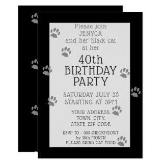 Schwarze Katzen-40. Geburtstags-Party Einladung