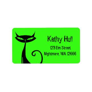 Schwarze Katzen-Adressen-Etiketten Halloweens Adress Aufkleber