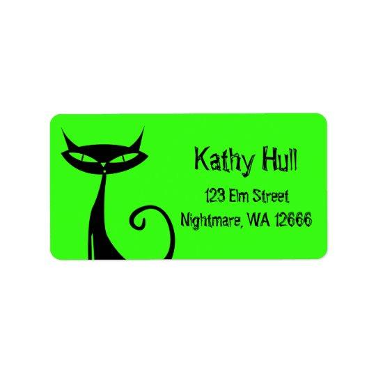 Schwarze Katzen-Adressen-Etiketten Halloweens Adressaufkleber