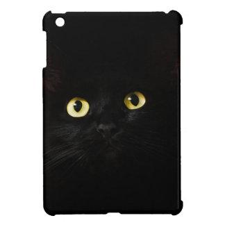 Schwarze Katzen-Ansicht-Katzenaugen-Katze, die iPad Mini Hülle
