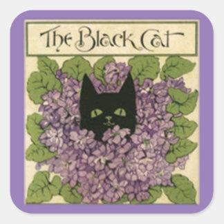Schwarze Katzen-Aufkleber, Katzen-Bild 1898 Quadratischer Aufkleber