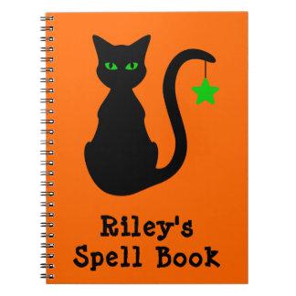 Schwarze Katzen-Bann-Buch-Notizbuch Notizblock