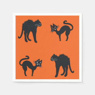 Schwarze Katzen-Cocktail-Papierservietten Serviette