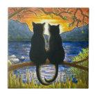 Schwarze Katzen der Katze 582 Fliese