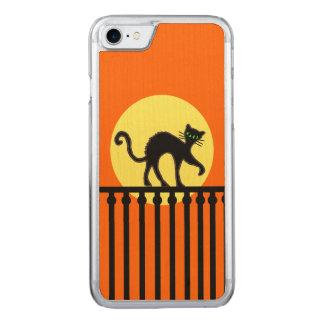 Schwarze Katzen-Gelb-Mond-Zaun Carved iPhone 8/7 Hülle