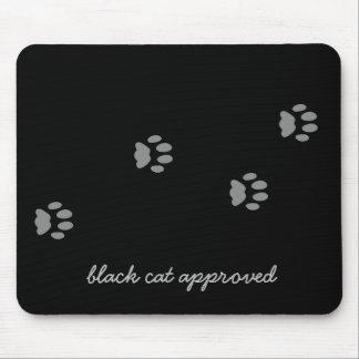 Schwarze Katzen-genehmigter Tatzen-Druck Mousepad