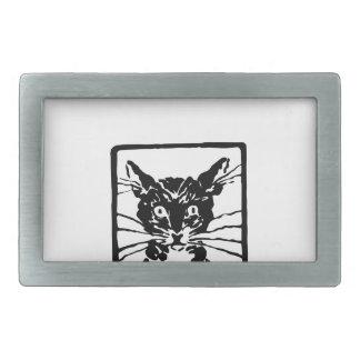 Schwarze Katzen-Geschenke Rechteckige Gürtelschnalle