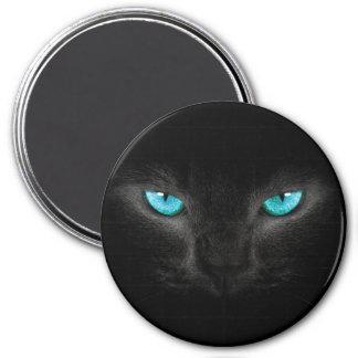 Schwarze Katzen-Gesicht mit Türkis-Augen Runder Magnet 7,6 Cm
