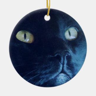 Schwarze Katzen-Gesichts-Verzierung Keramik Ornament