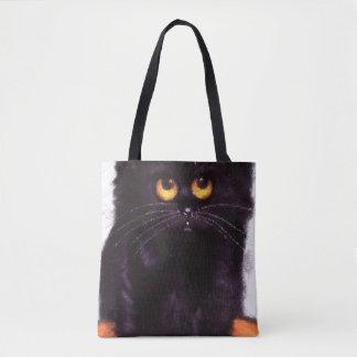 Schwarze Katzen-große Augen-Süßes sonst gibt's Tasche