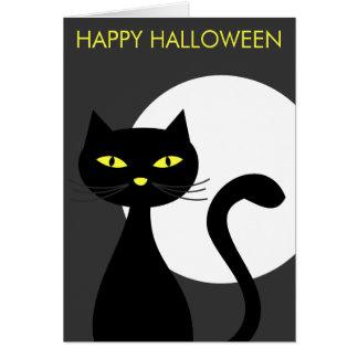 Schwarze Katzen-Halloween-Karten Karte