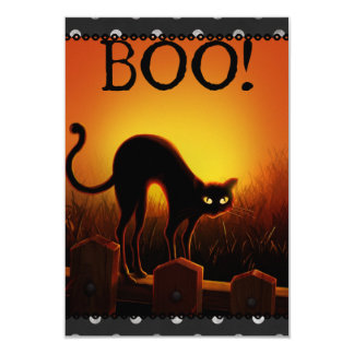 Schwarze Katzen-Halloween-Party-Einladung 8,9 X 12,7 Cm Einladungskarte