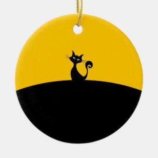 Schwarze Katzen-Kreis-Verzierung Rundes Keramik Ornament