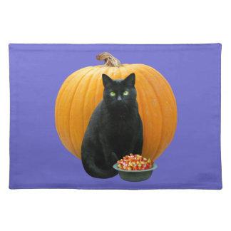 Schwarze Katzen-Kürbis Stofftischset