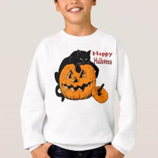 Schwarze Katzen-Kürbis Sweatshirt