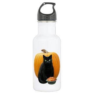 Schwarze Katzen-Kürbis Trinkflasche