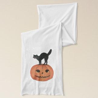Schwarze Katzen-Kürbislaterne-Kürbis-Orange Schal
