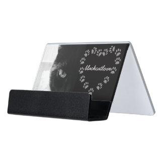 Schwarze Katzen-Liebe-Tatzen-Druck-Herz-Foto Schreibtisch-Visitenkartenhalter