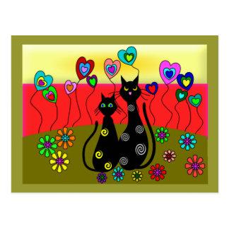 Schwarze Katzen-Liebhaber-Kunst-Geschenke Postkarte