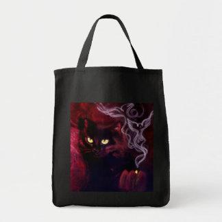 Schwarze Katzen-Magie-Tasche Einkaufstasche