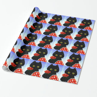 Schwarze Katzen-MäuseValentinstag Creationarts Geschenkpapier