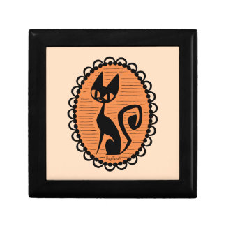 Schwarze Katzen-Miniatur Halloweens Geschenkbox