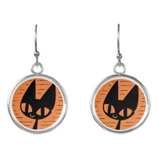 Schwarze Katzen-Miniatur Halloweens Ohrringe