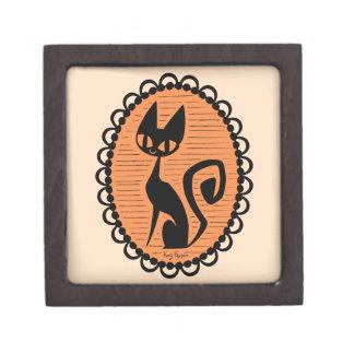 Schwarze Katzen-Miniatur Halloweens Schachtel