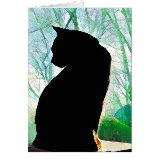Schwarze Katzen-Mitteilungskarten Karte