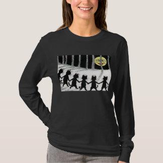 Schwarze Katzen-Mond-T-Shirt Louis Wain T-Shirt