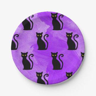 Schwarze Katzen-Muster Witchy Halloween-Party Pappteller