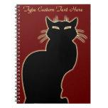 Schwarze Katzen-Notizbuch-personalisiertes