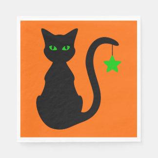 Schwarze Katzen-Papierservietten Papierserviette