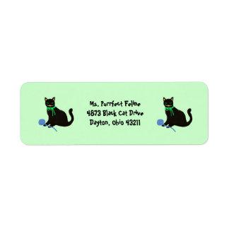 Schwarze Katzen-Rücksendeadressen-Aufkleber Rücksendeetikett