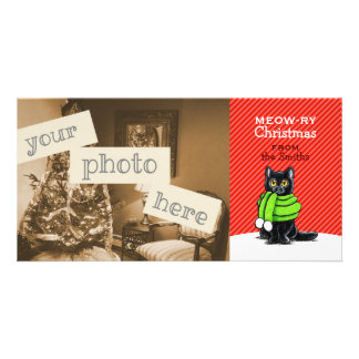 Schwarze Katzen-Schal-Weihnachtsrot-Streifen Bilderkarten